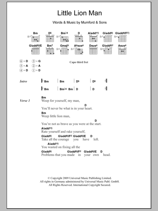 Little Lion Man by Mumford & Sons Piano, Vocal & Guitar (Right-Hand Melody)  Digital Sheet Music