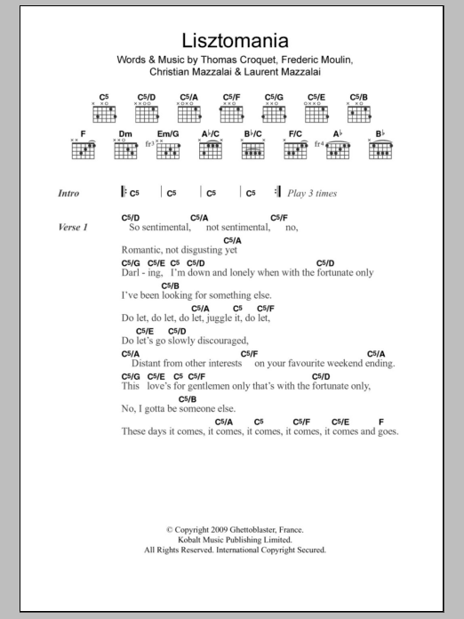 Lisztomania by Phoenix - Guitar Chords/Lyrics - Guitar Instructor