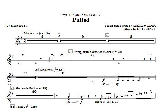 Pulled (from The Addams Family) - Bb Trumpet 2 (Choir Instrumental Pak)