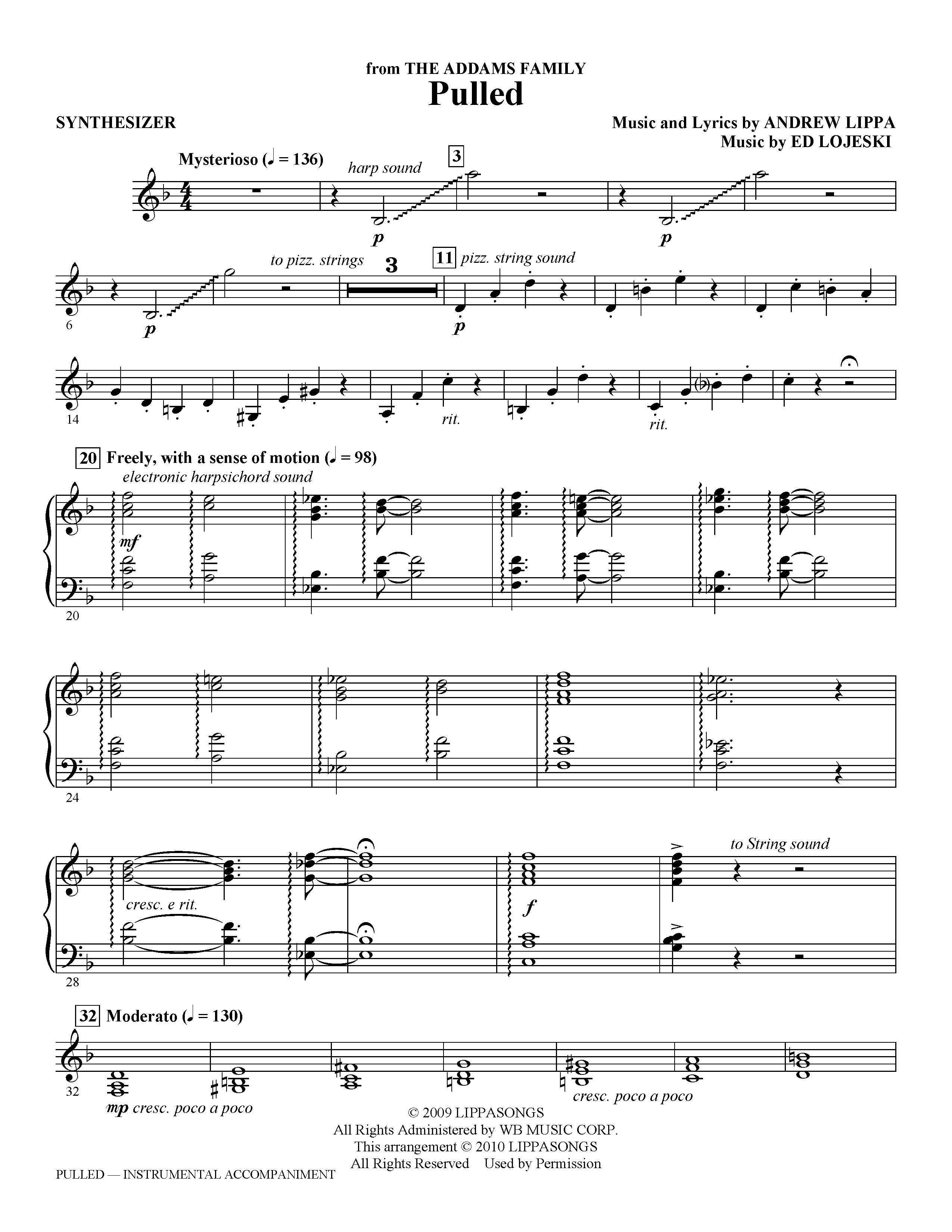 page one of Pulled (from The Addams Family) - SynthesizerASALTTEXT