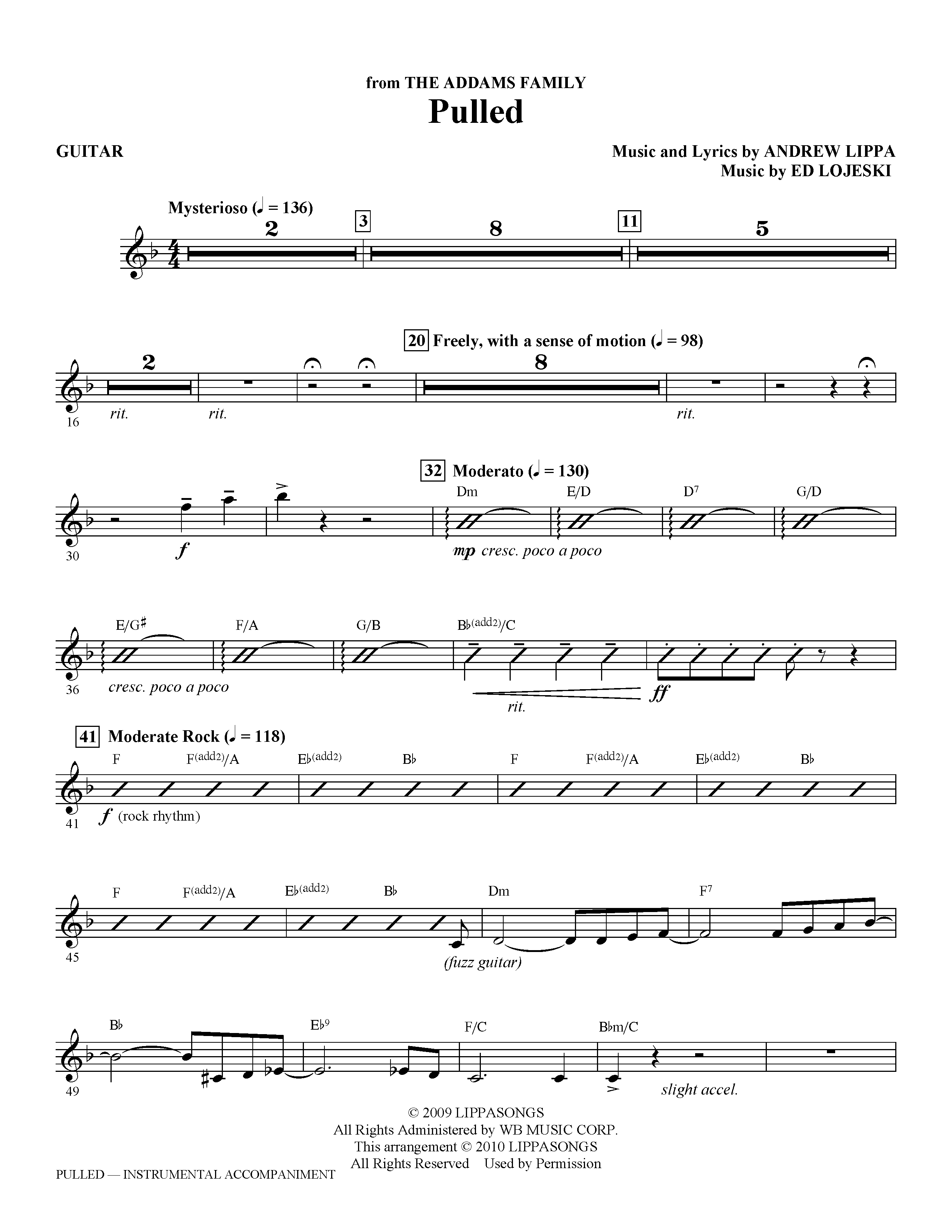 page one of Pulled (from The Addams Family) - GuitarASALTTEXT