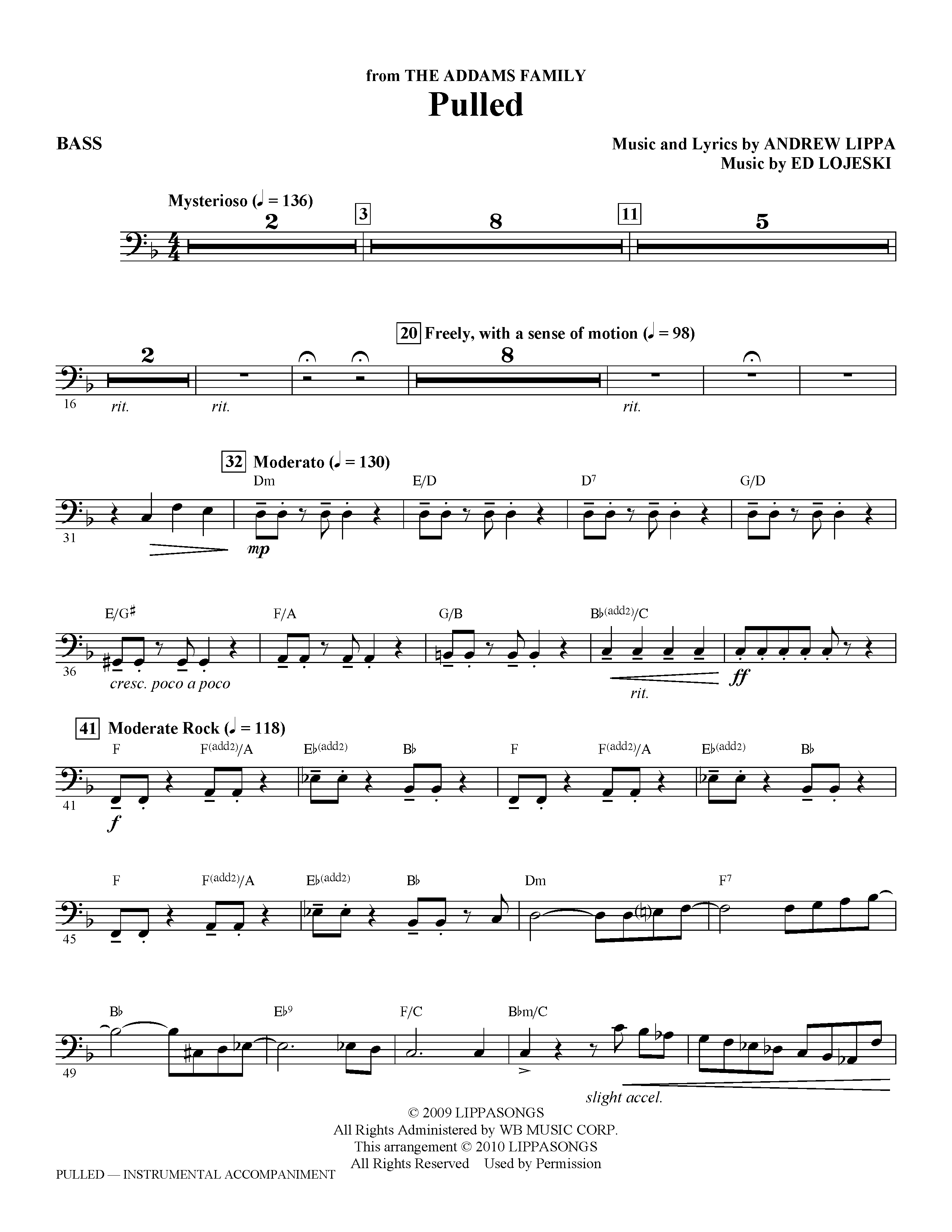 Pulled (from The Addams Family) - Bass (Choir Instrumental Pak)