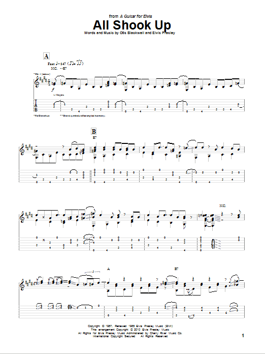 Tablature guitare All Shook Up de Pat Donohue - Tablature Guitare