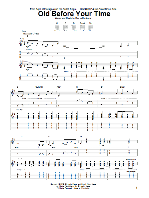 Tablature guitare Old Before Your Time de Ray LaMontagne and The Pariah Dogs - Tablature Guitare