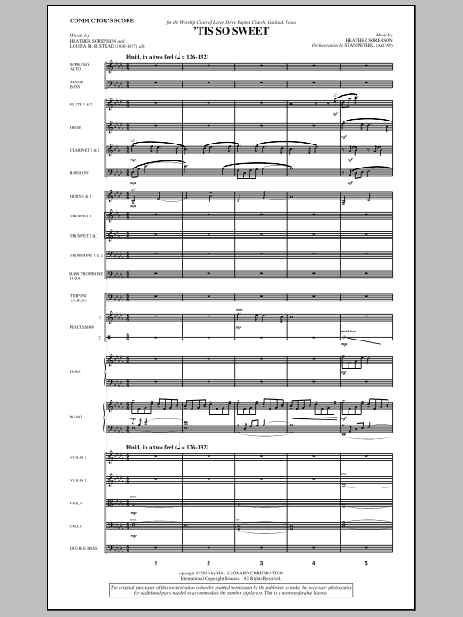 'Tis So Sweet (complete set of parts) sheet music for orchestra/band (Orchestra) by Heather Sorenson and Stan Pethel. Score Image Preview.