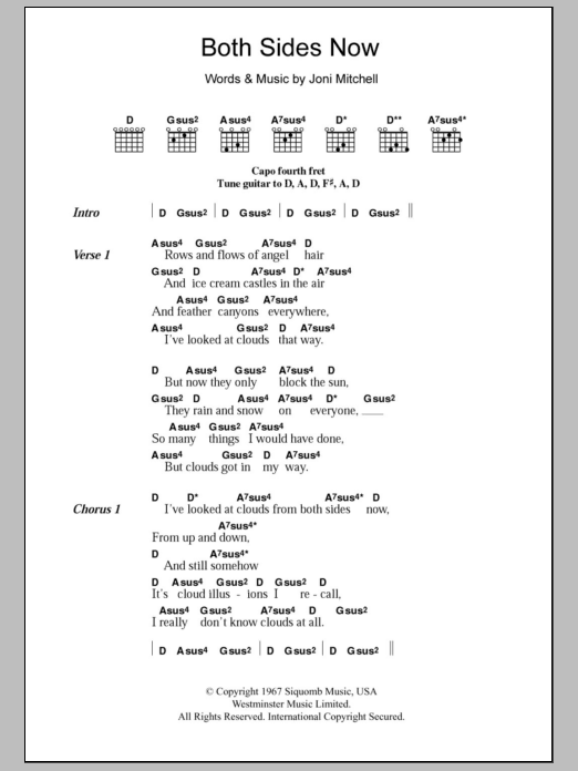 Both Sides Now Sheet Music Joni Mitchell Lyrics Chords