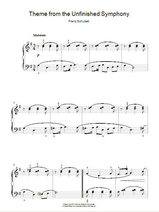 Theme From The Unfinished Symphony Partition Digitale