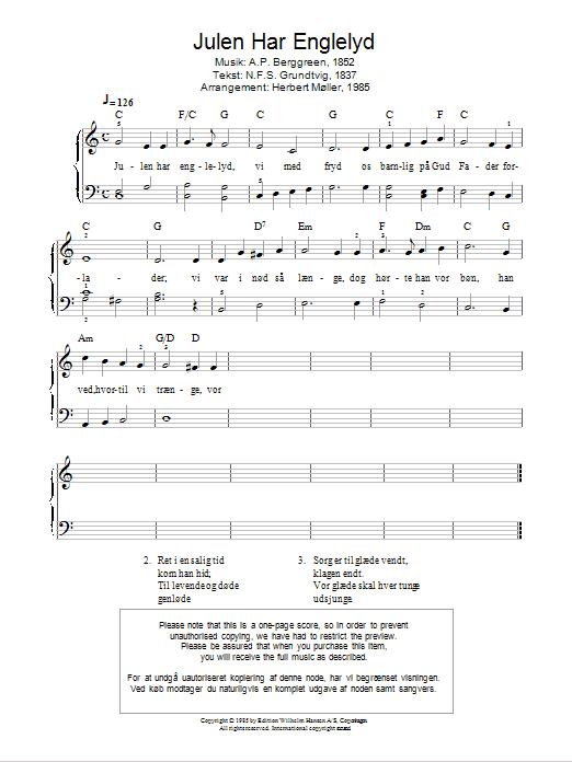 Julen Har Englelyd Sheet Music
