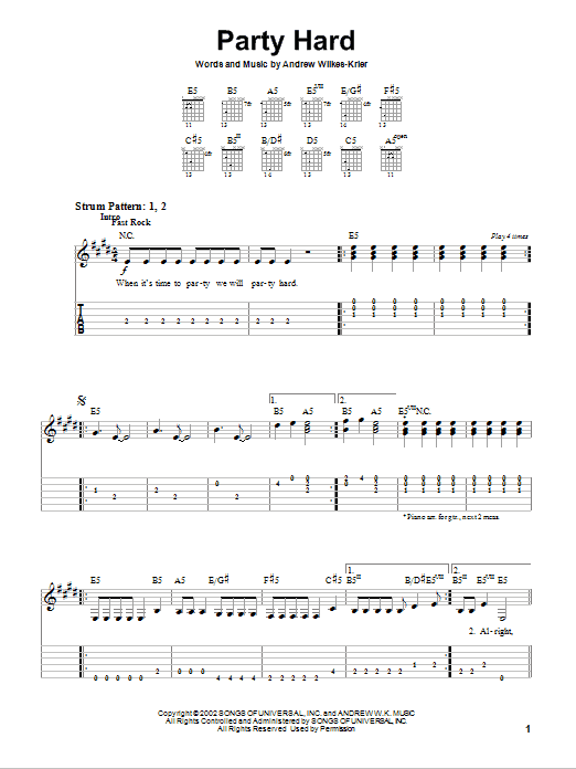Party Hard (Easy Guitar Tab)