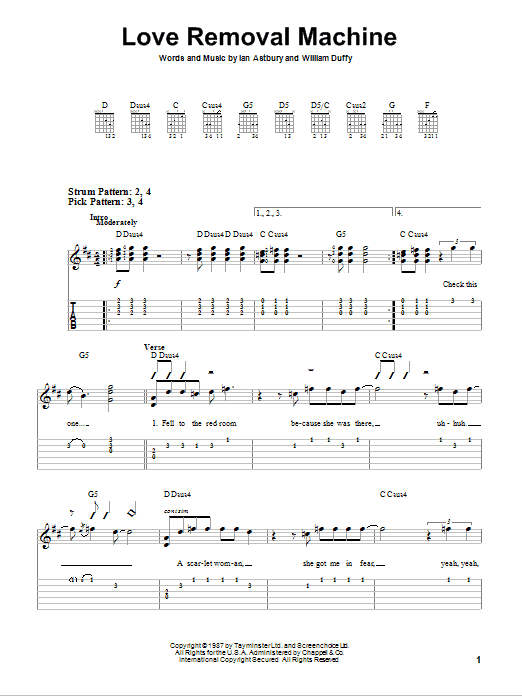 Tablature guitare Love Removal Machine de The Cult - Tablature guitare facile