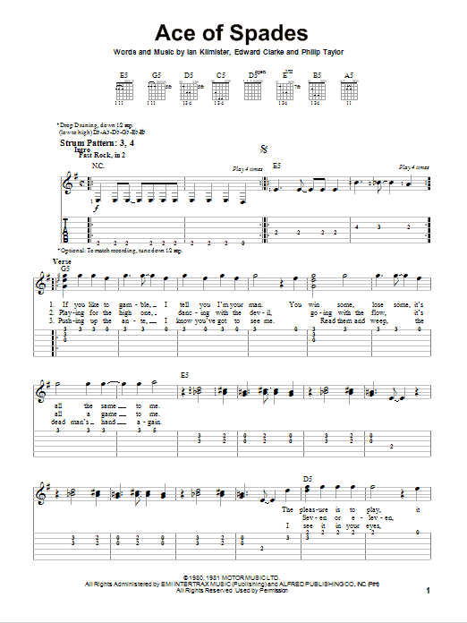 Ace Of Spades Sheet Music