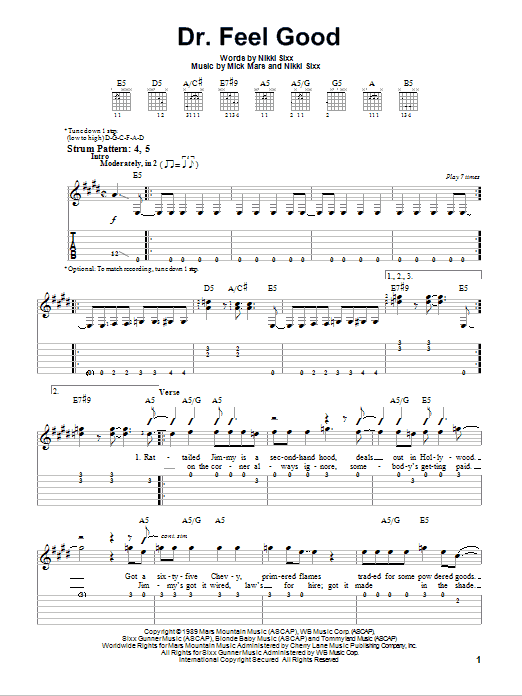 Dr. Feel Good (Easy Guitar Tab)
