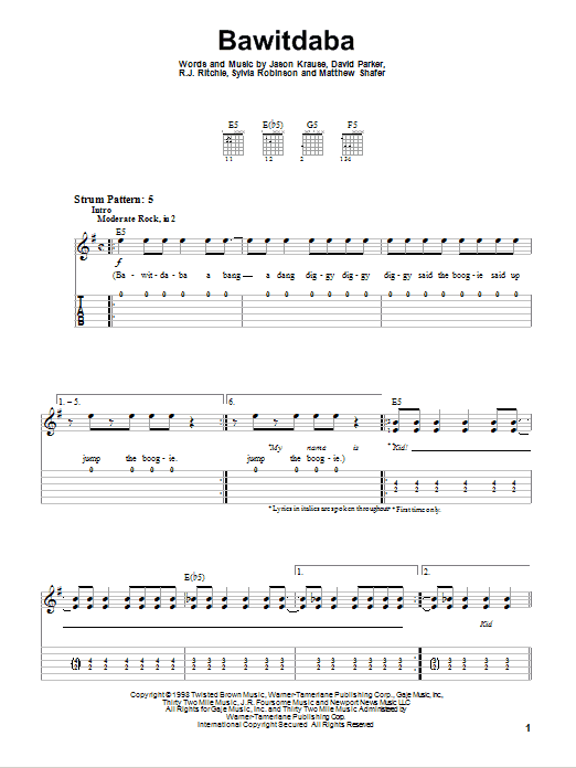Bawitdaba Sheet Music