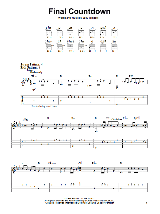 Tablature guitare Final Countdown de Europe - Tablature guitare facile