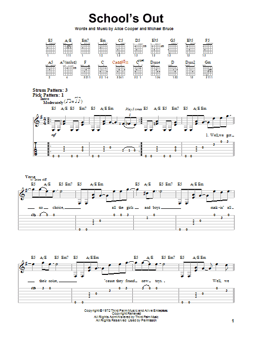 Tablature guitare School's Out de Alice Cooper - Tablature guitare facile