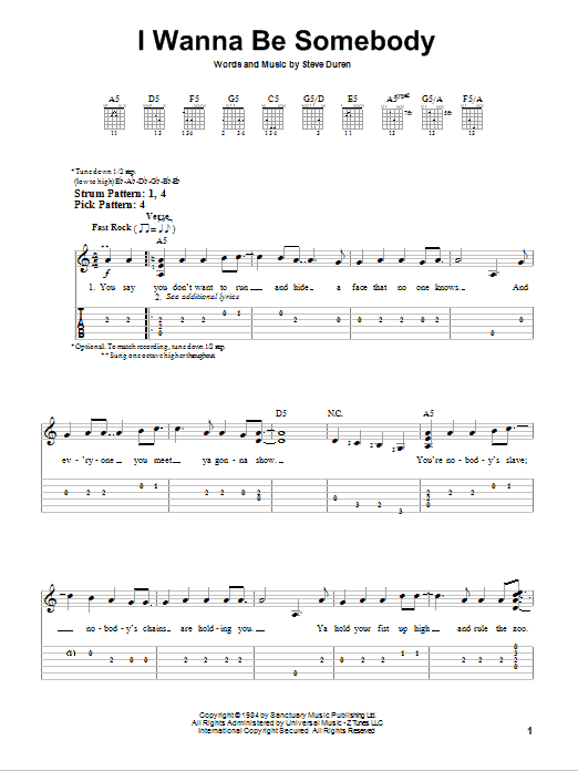 Tablature guitare I Wanna Be Somebody de W.A.S.P. - Tablature guitare facile
