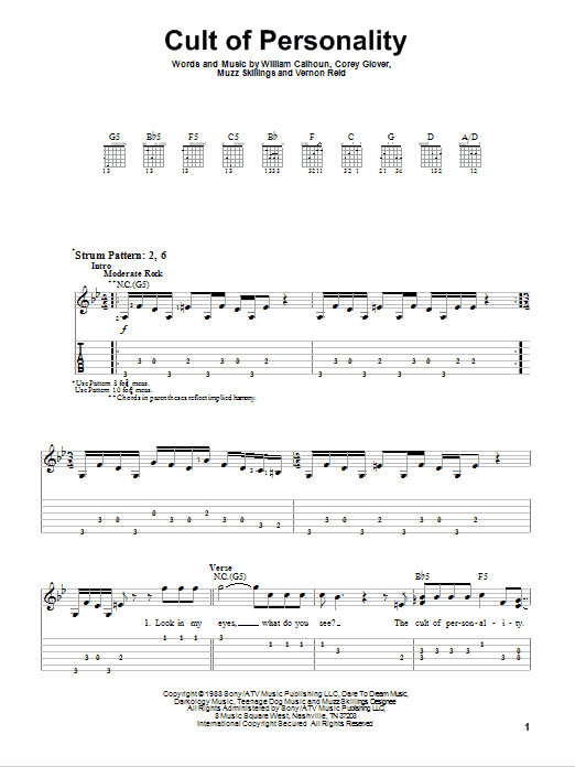 Tablature guitare Cult Of Personality de Living Colour - Tablature guitare facile