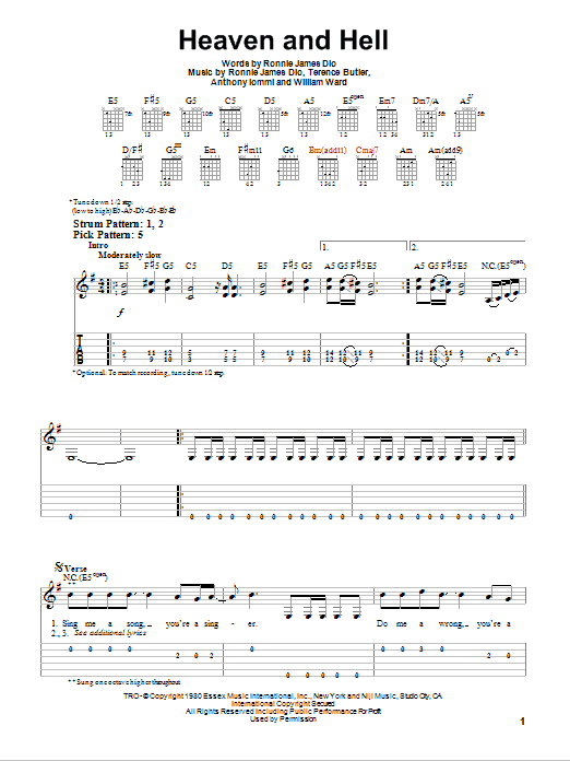 Heaven And Hell Sheet Music