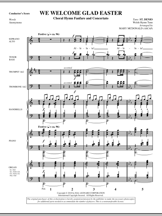 We Welcome Glad Easter (complete set of parts) sheet music for orchestra/band (Brass) by Mary McDonald, Miscellaneous and Anonymous. Score Image Preview.