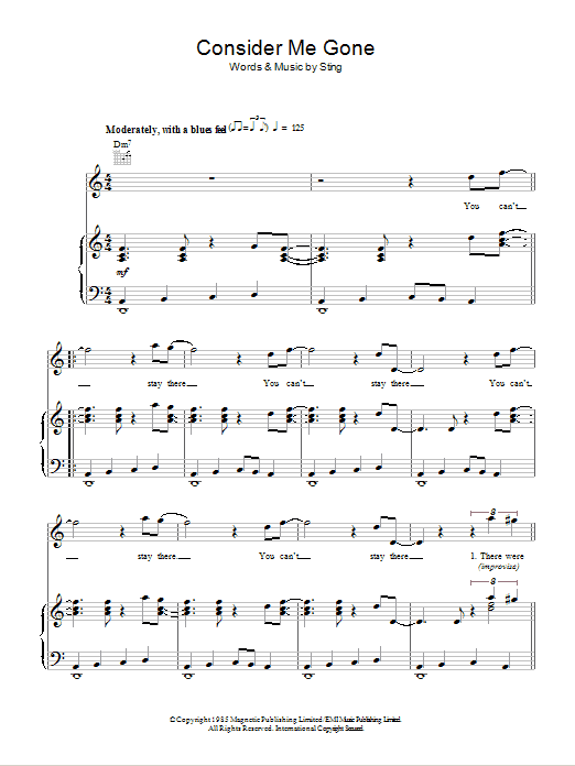 Consider Me Gone (Piano, Vocal & Guitar)