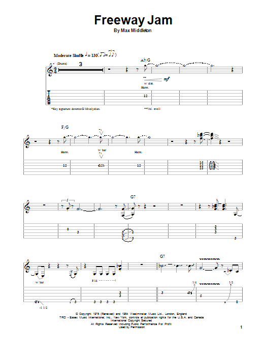 Tablature guitare Freeway Jam de Jeff Beck - Autre