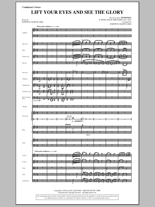Lift Your Eyes And See The Glory (complete set of parts) sheet music for orchestra/band (Orchestra) by Joseph M. Martin and Rowland Prichard. Score Image Preview.