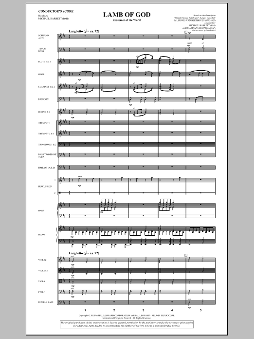 Lamb Of God (Redeemer Of The World) (complete set of parts) sheet music for orchestra/band (Orchestra) by David Angerman, Ludwig van Beethoven and Michael Barrett. Score Image Preview.