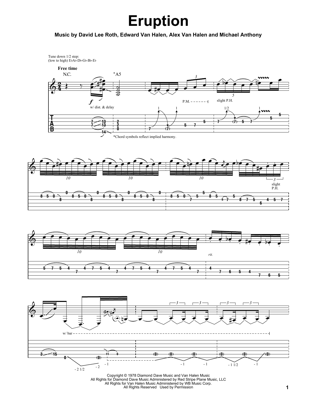 Tablature guitare Eruption de Van Halen - Playback Guitare