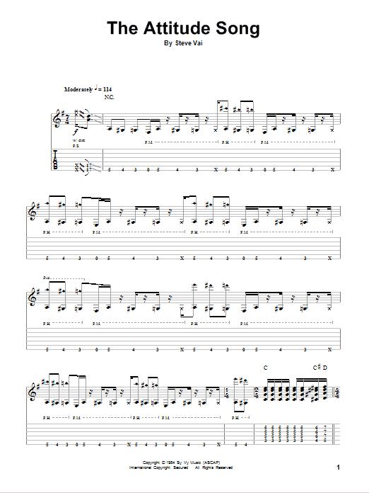 Tablature guitare The Attitude Song de Steve Vai - Playback Guitare