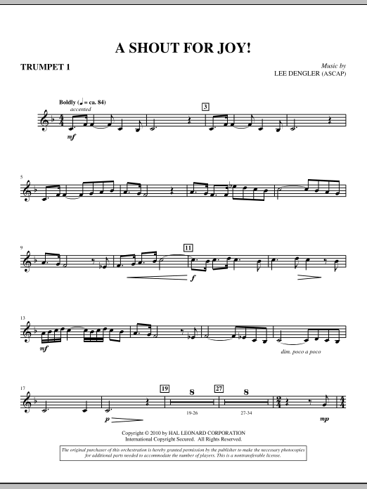 A Shout For Joy! - Trumpet I Sheet Music