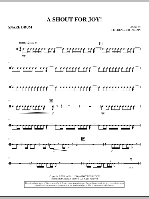 A Shout For Joy! (complete set of parts) sheet music for orchestra/band (Brass) by Lee Dengler and Susan Naus Dengler. Score Image Preview.