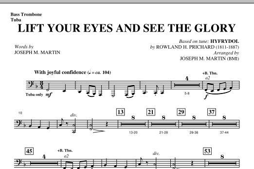 Lift Your Eyes And See The Glory - Bass Trombone/Tuba Sheet Music