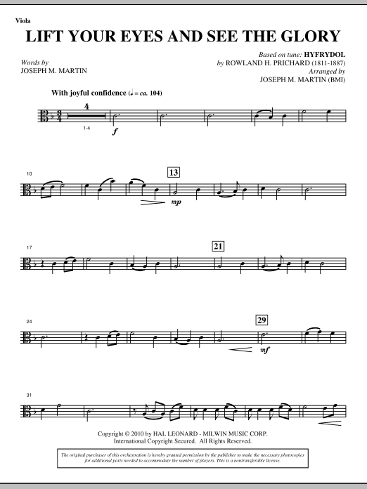 Lift Your Eyes And See The Glory - Viola Sheet Music