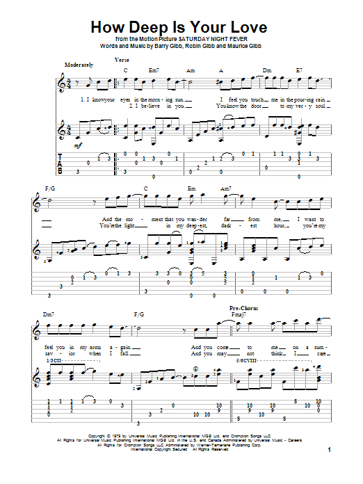 How Deep Is Your Love Sheet Music Bee Gees Guitar Tab
