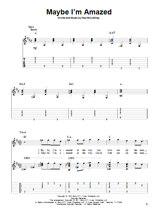 Maybe I'm Amazed (Guitar Tab)