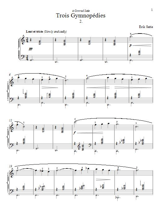 Partition piano Gymnopedie No. 2 de Erik Satie - Piano Solo