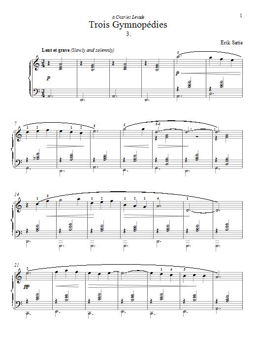 Partition piano Gymnopedie No. 3 de Erik Satie - Piano Solo