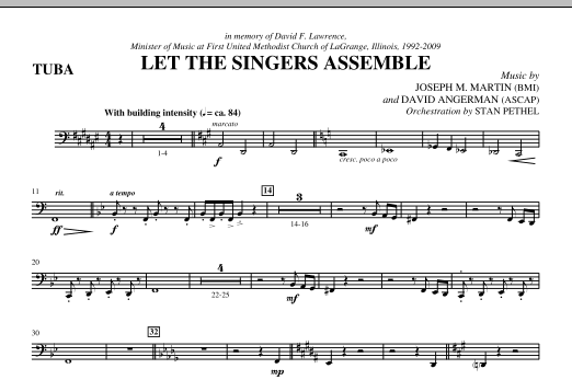 Let The Singers Assemble (complete set of parts) sheet music for orchestra/band (Brass) by Joseph M. Martin and David Angerman. Score Image Preview.