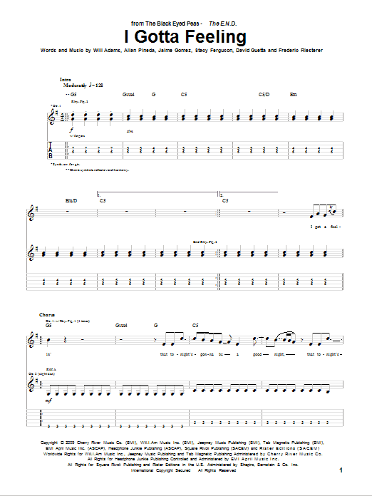 Tablature guitare I Gotta Feeling de Black Eyed Peas - Tablature Guitare