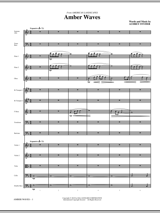 Amber Waves (complete set of parts) sheet music for orchestra/band (chamber ensemble) by Audrey Snyder. Score Image Preview.
