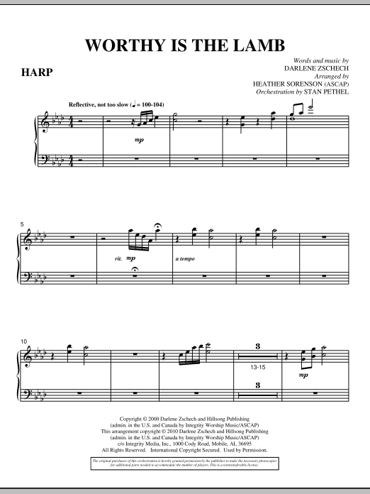 Worthy Is The Lamb - Harp (Choir Instrumental Pak)