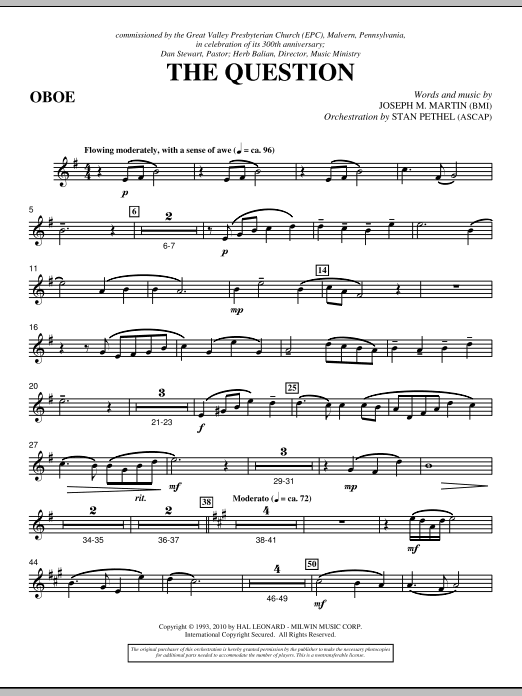 The Question - Oboe (Choir Instrumental Pak)