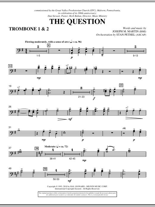 The Question - Trombone 1 & 2 (Choir Instrumental Pak)