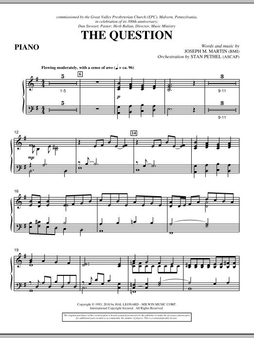 The Question - Piano (Choir Instrumental Pak)