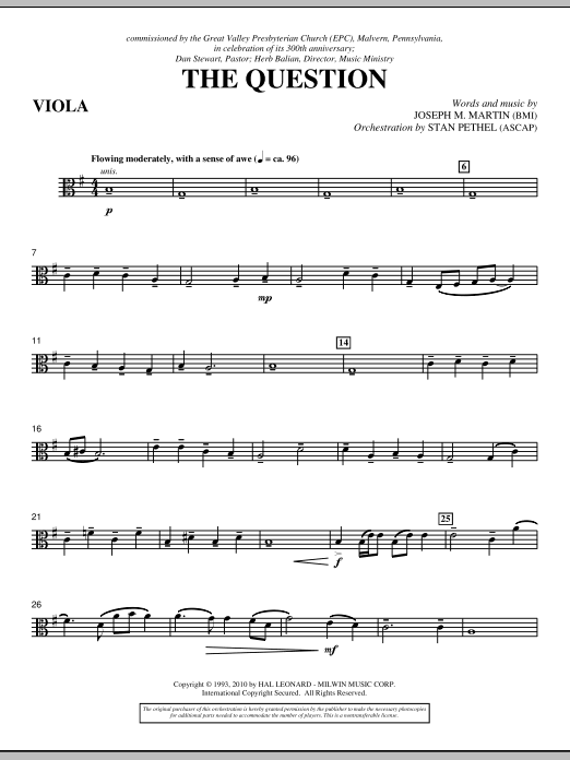The Question - Viola (Choir Instrumental Pak)
