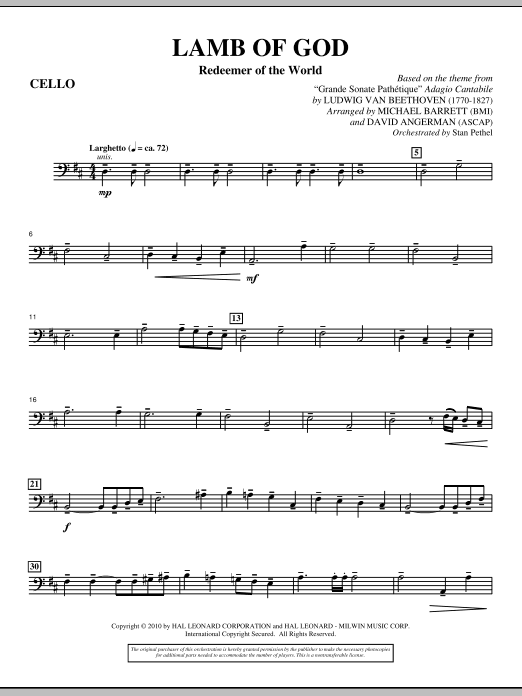 Lamb Of God (Redeemer Of The World) - Cello Sheet Music