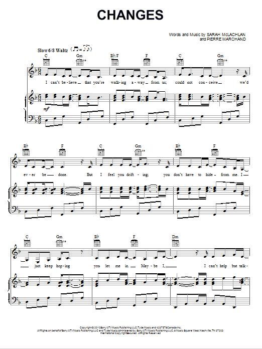 Partition piano Changes de Sarah McLachlan - Piano Voix Guitare (Mélodie Main Droite)