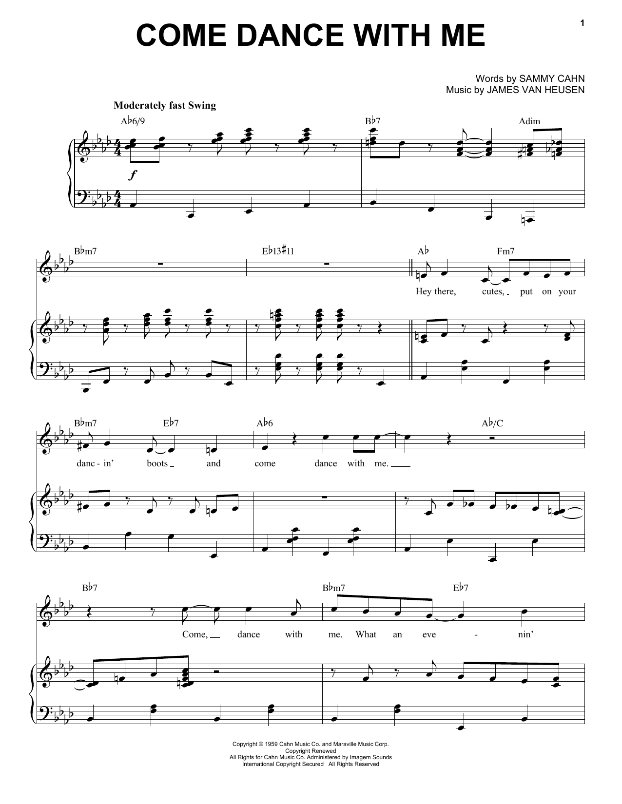 Come Dance With Me Sheet Music