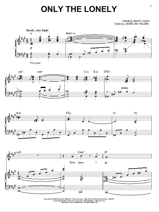 Only The Lonely (Piano & Vocal)