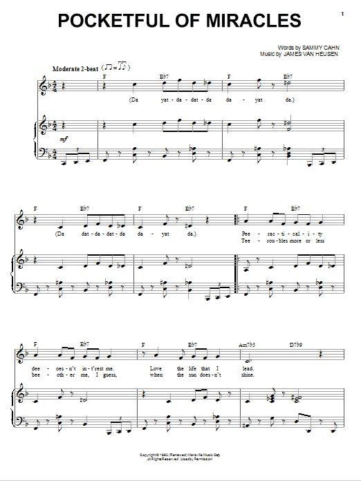 Pocketful Of Miracles (Piano & Vocal)
